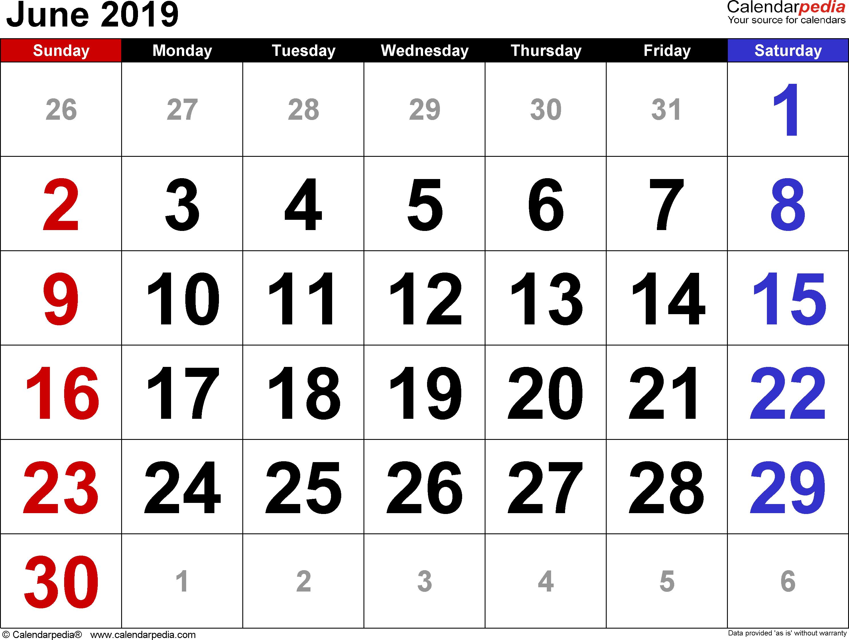 EditableJune 2019 Calendar