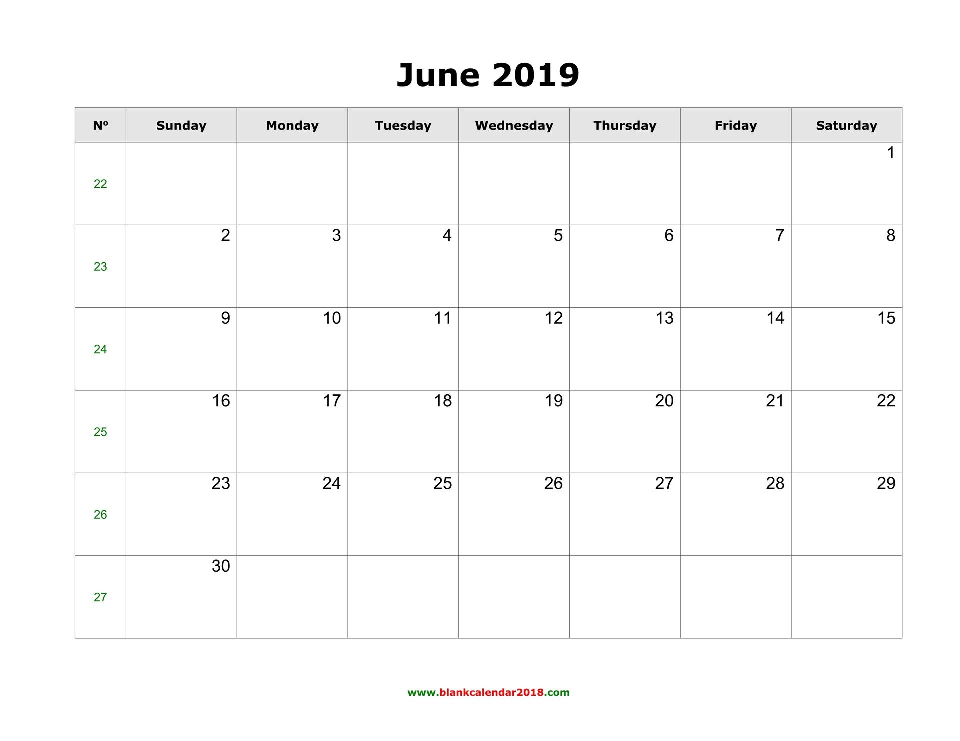 Editable June 2019 Calendar Template