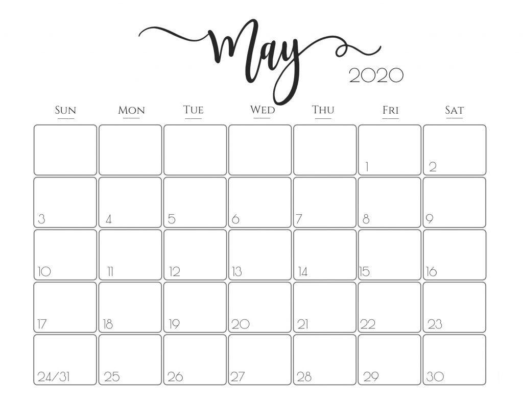Editable May 2020 Calendar PDF Template