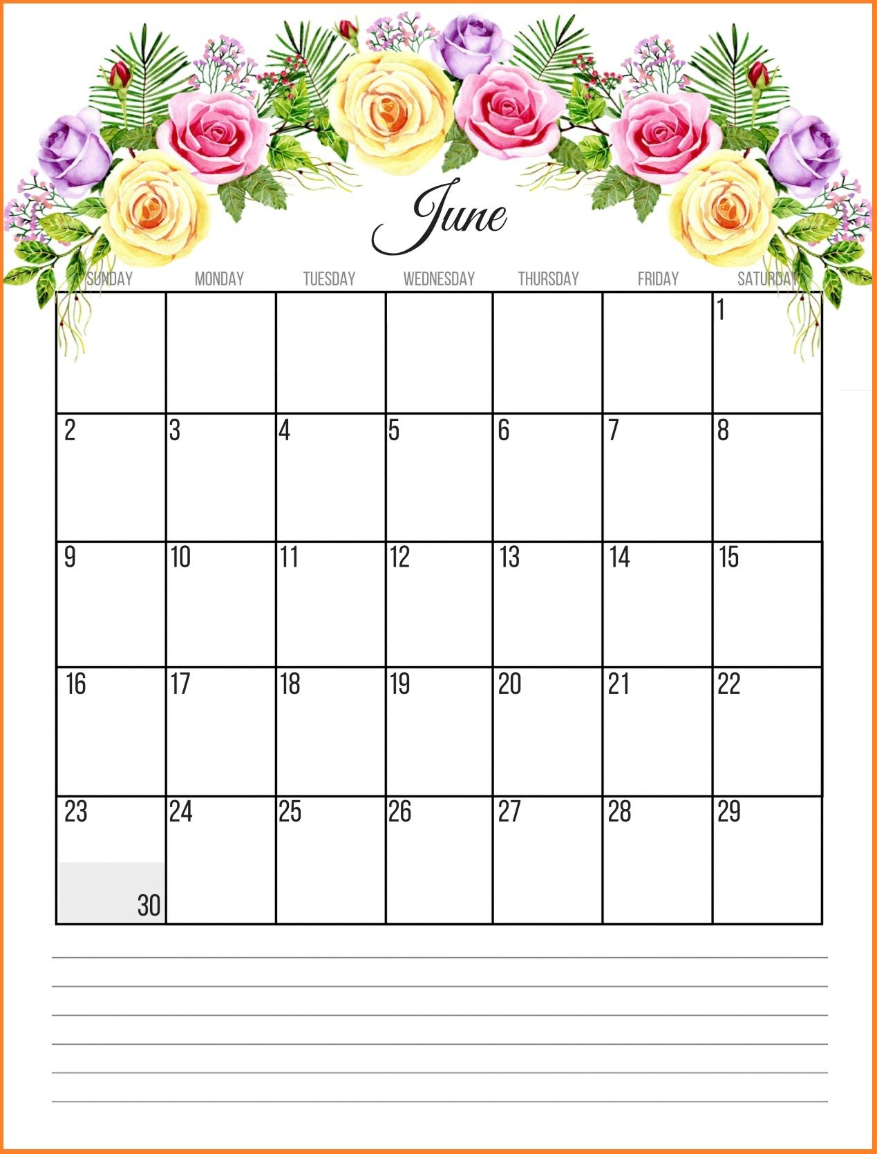 Floral June 2019 Wall Calendar Designs