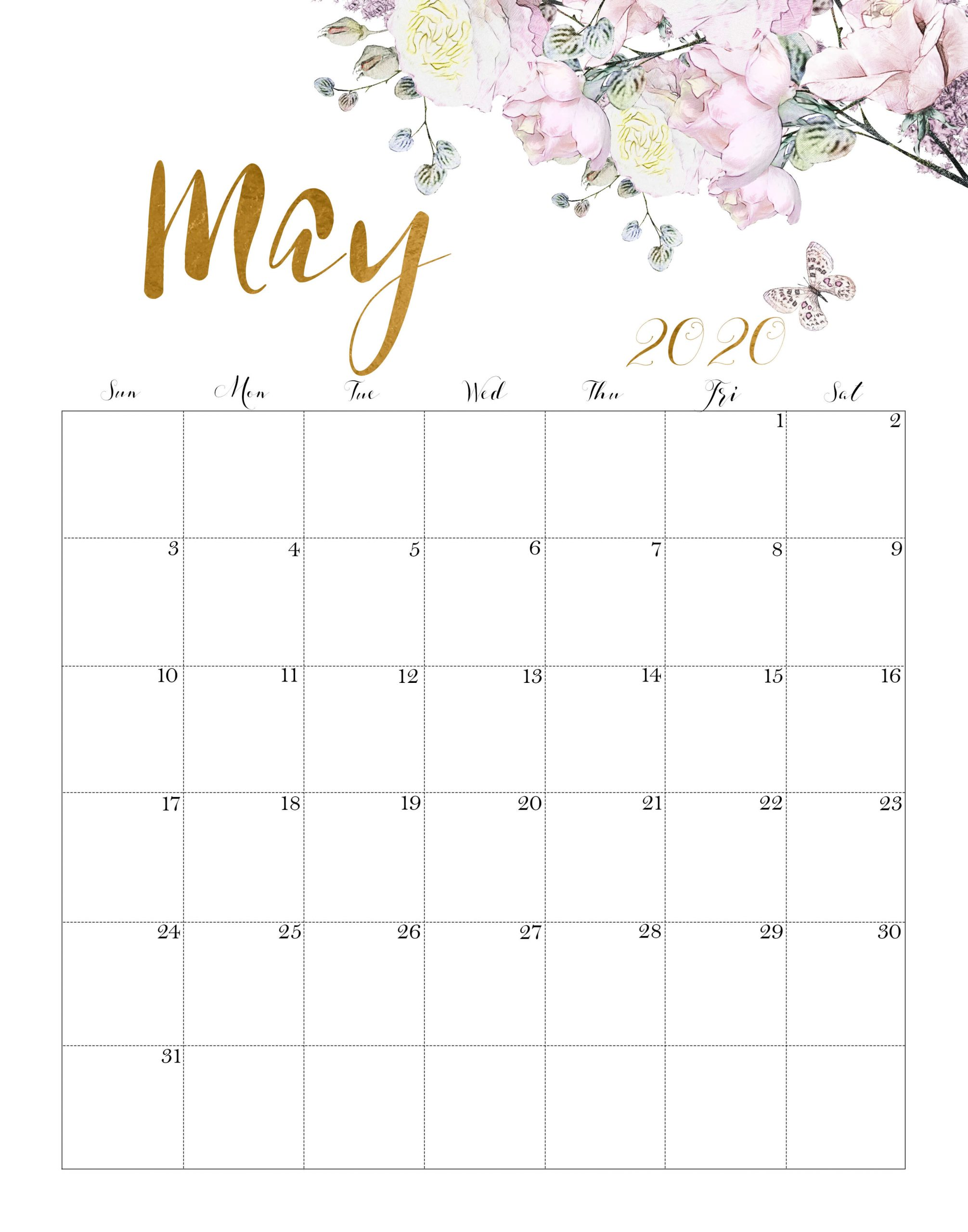 Floral May 2020 Calendar Template