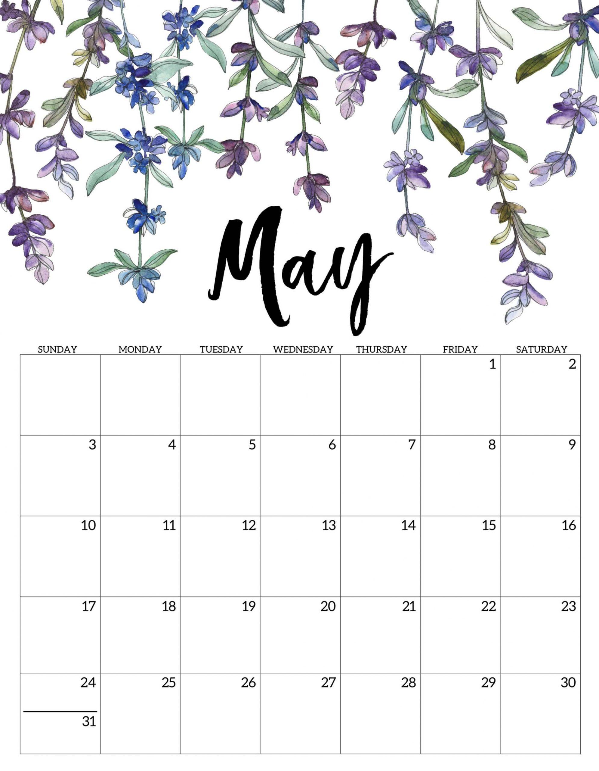 Floral Wall Calendar May 2020