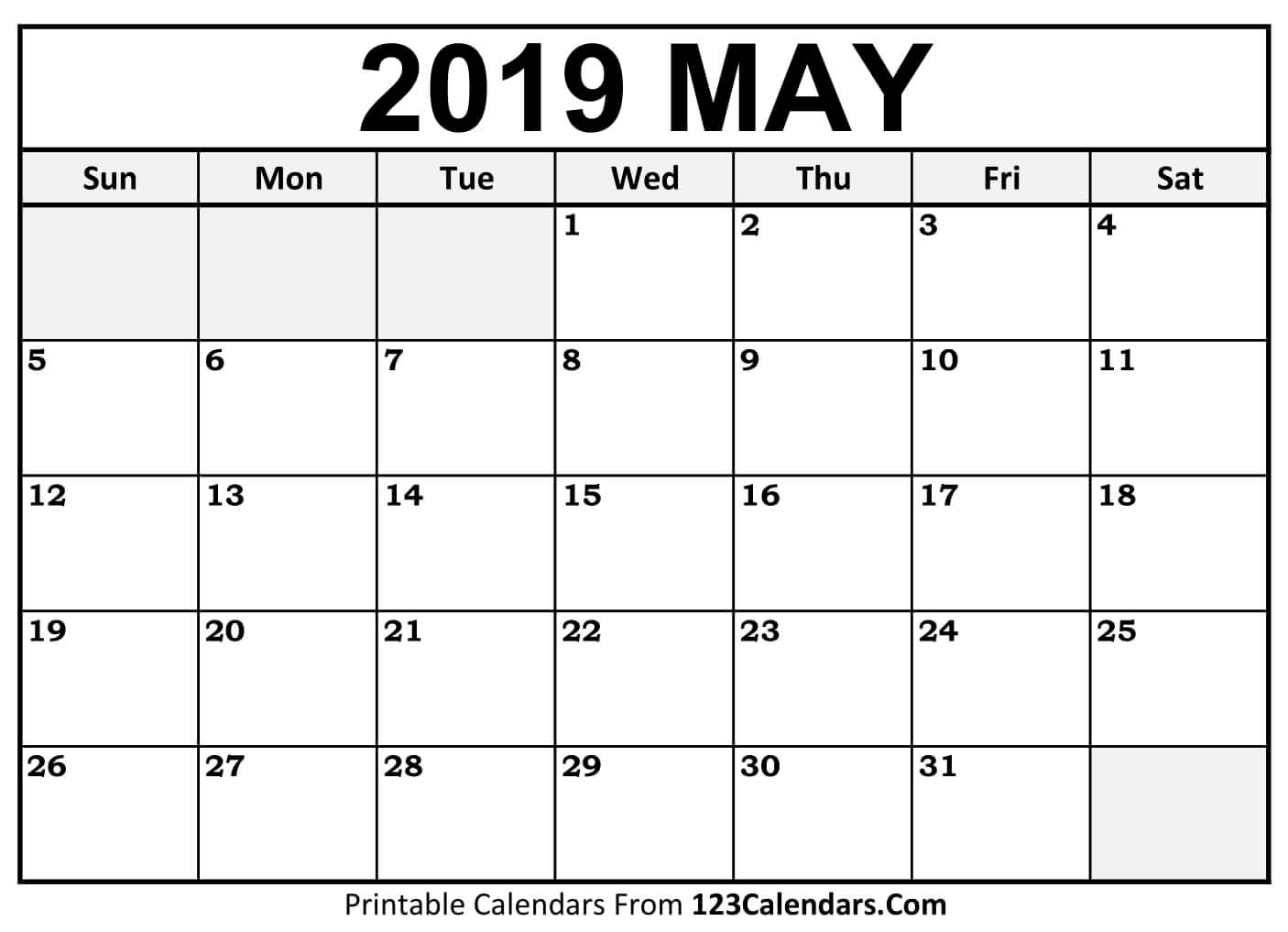 Free May 2019 Calendar Printable