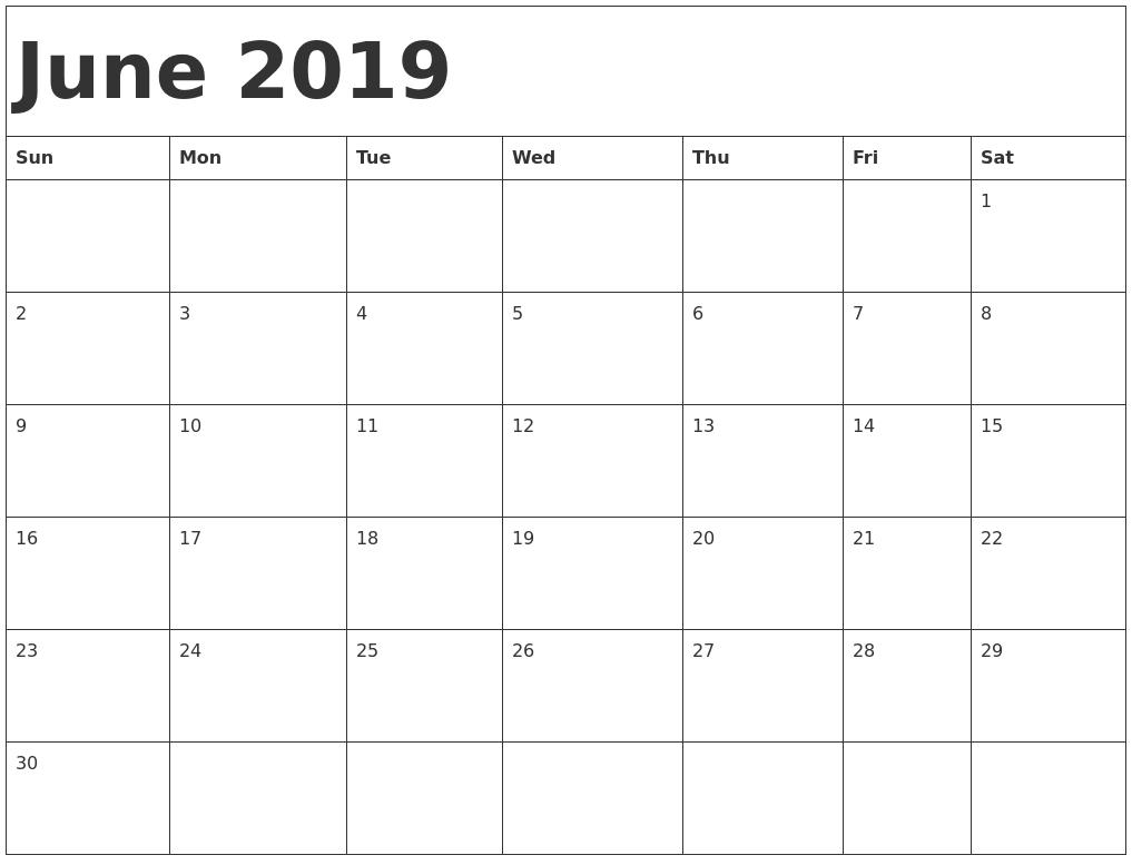 Free Monthly June 2019 Calendar