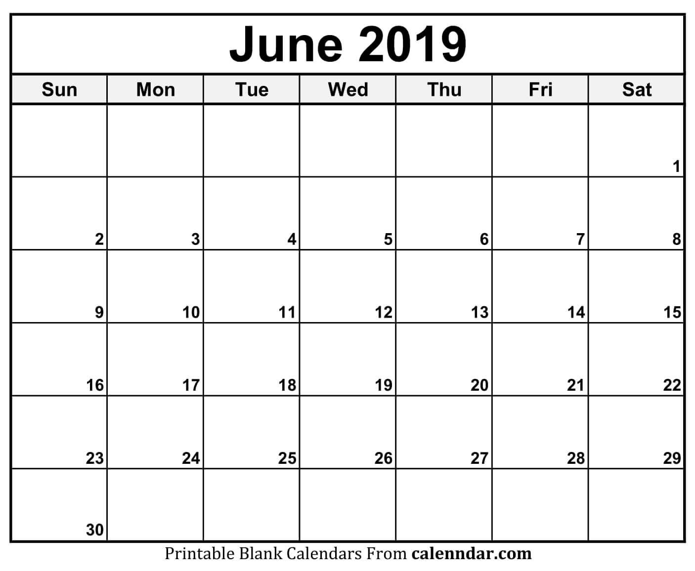 June 2019 Calendar Blank Template