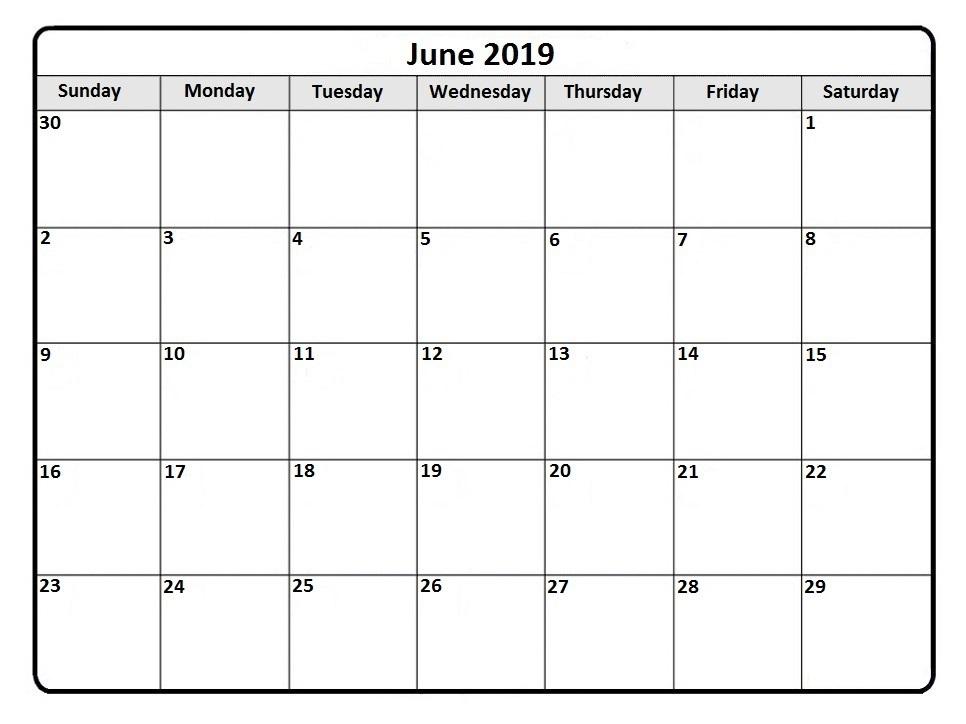 June 2019 Calendar Monthly