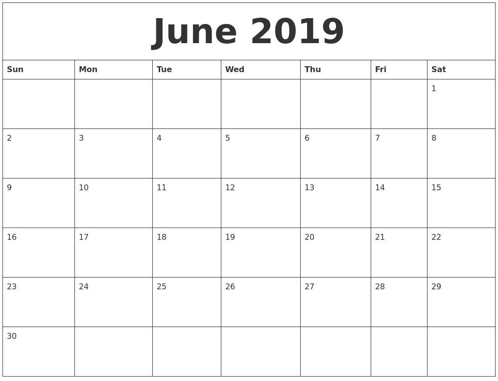 June 2019 Calendar PDF Printable