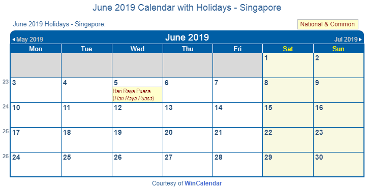 June 2019 Calendar Singapore With Holidays