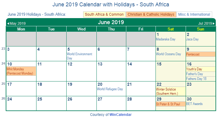 June 2019 Calendar South Africa with Holidays