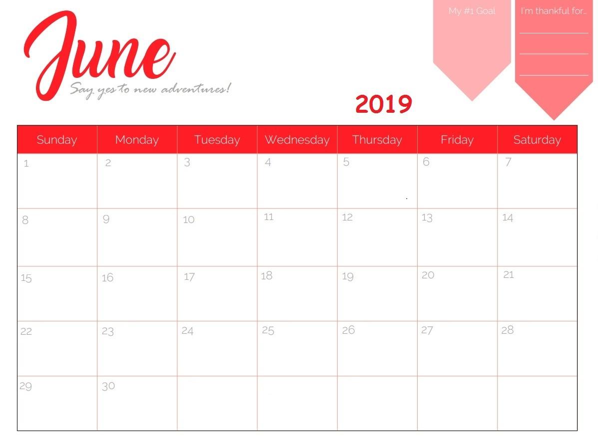 June 2019 Calendar Template Excel