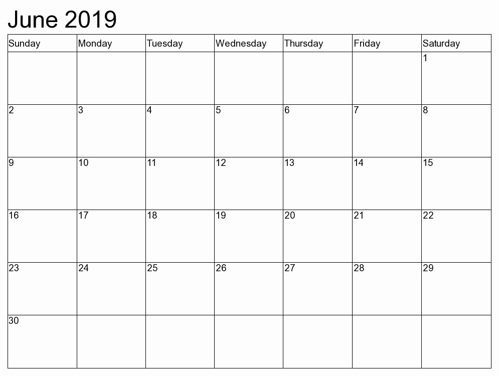 June 2019 Calendar Template Printable