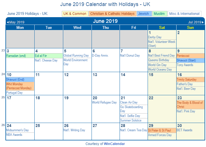 June 2019 Calendar UK With Holidays