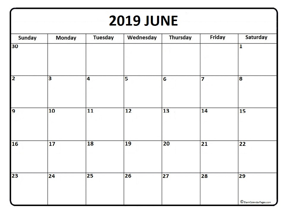 June 2019 Calendar Word