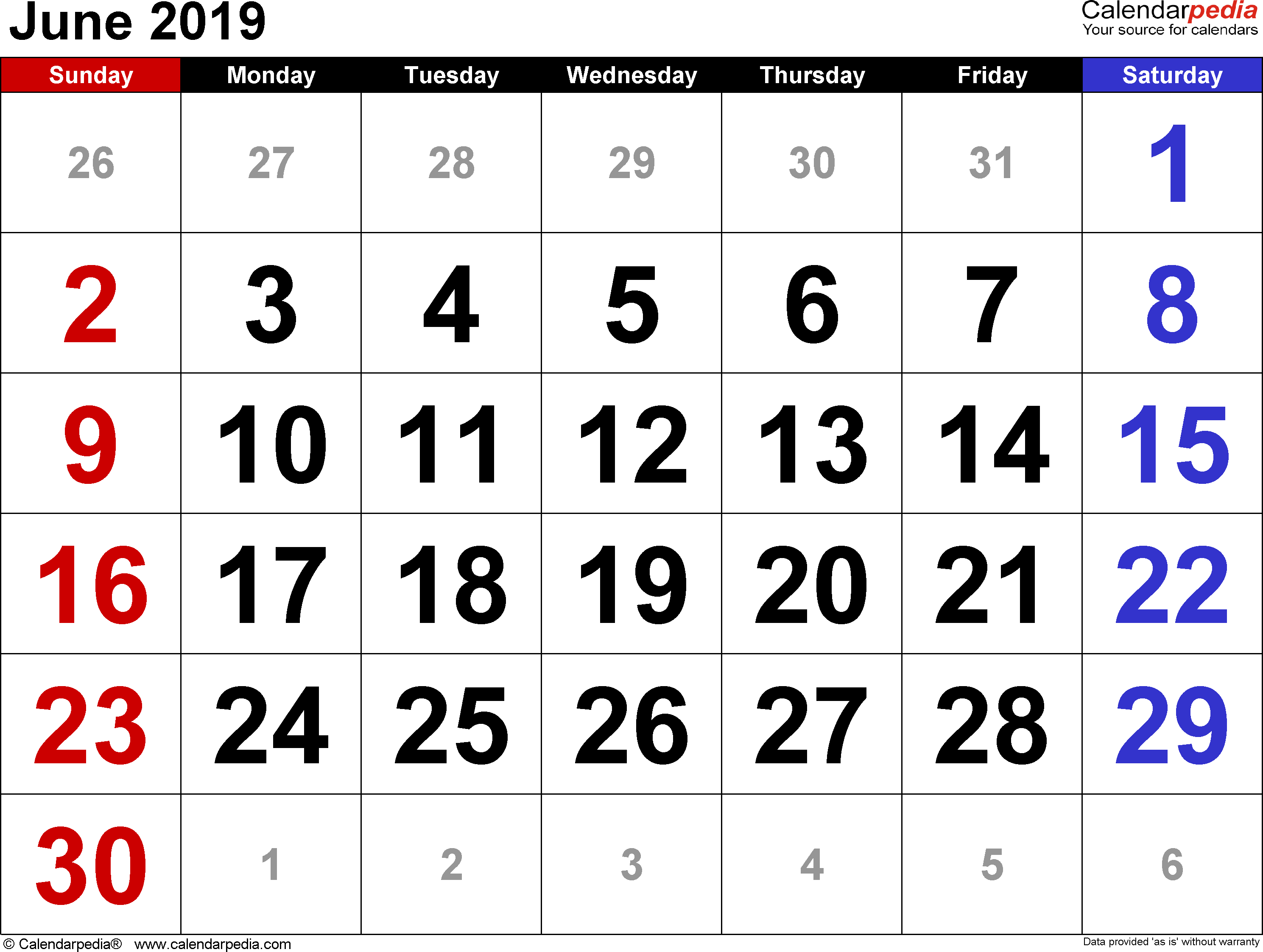 June 2019 Calendar for Word