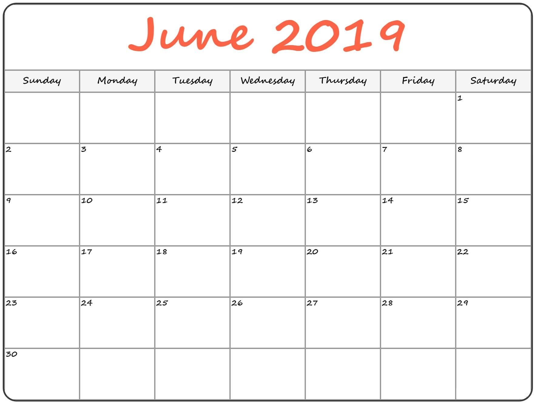June 2019 Monthly Calendar Printable
