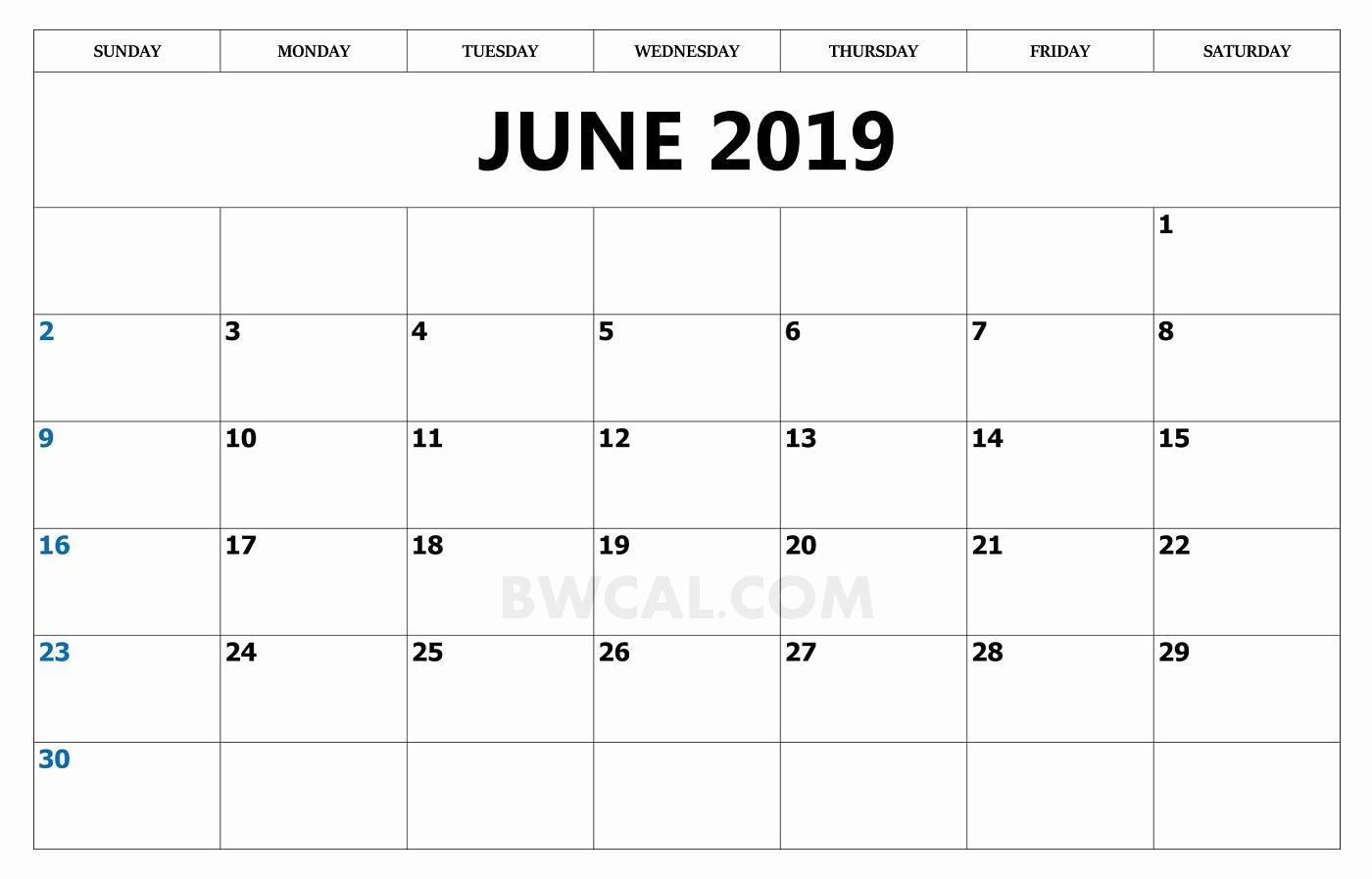June 2019 Monthly Calendar Template