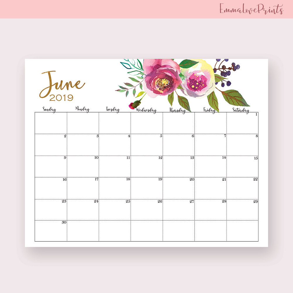 June 2019 Wall Calendar Designs