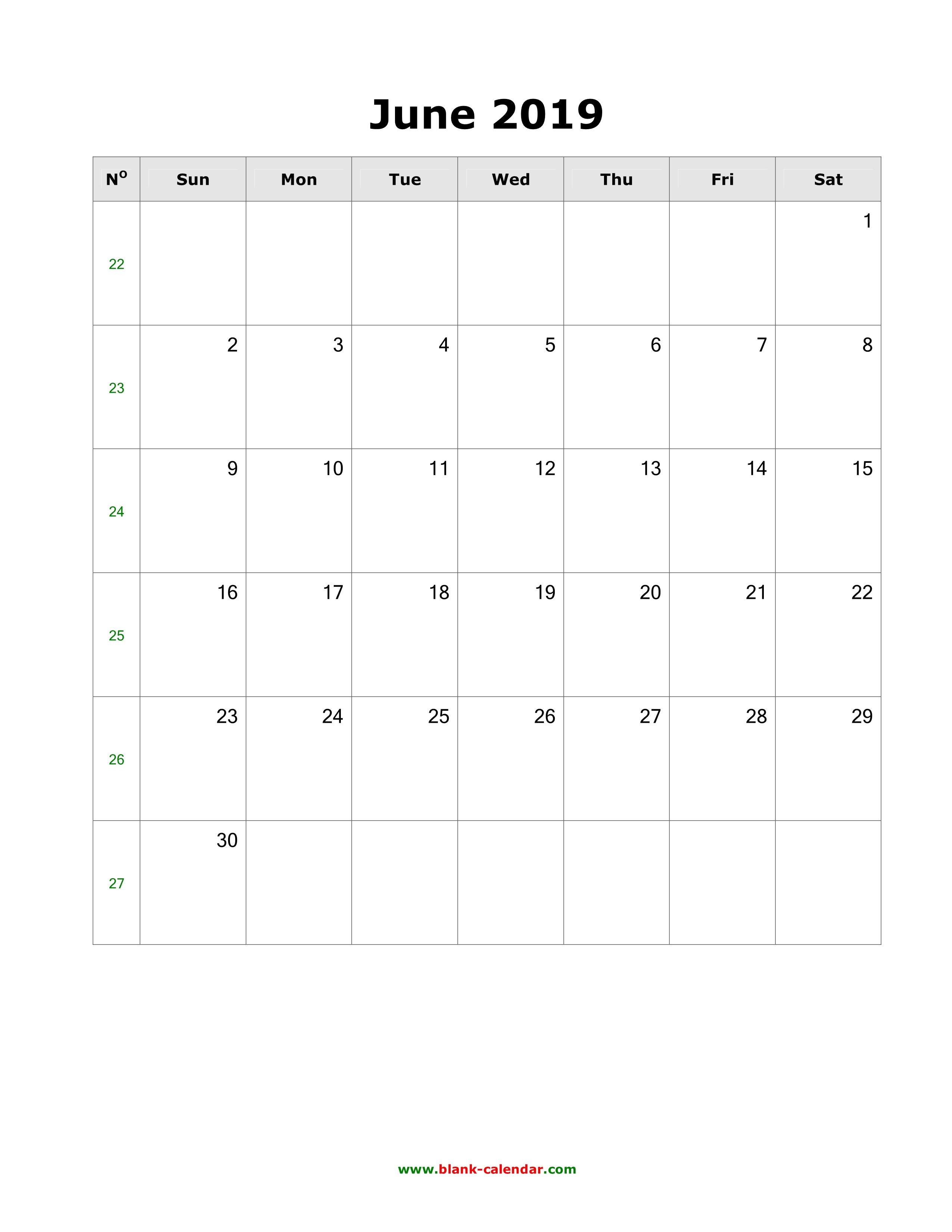 June Calendar 2019 Excel