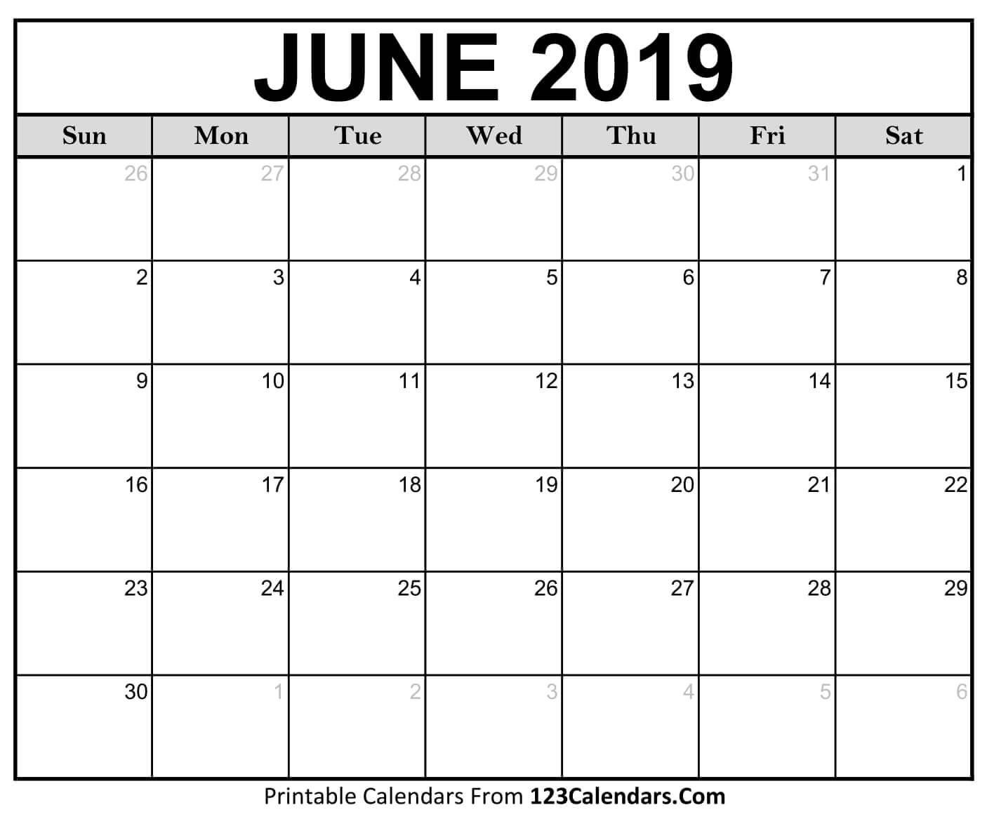 June Calendar 2019 PDF