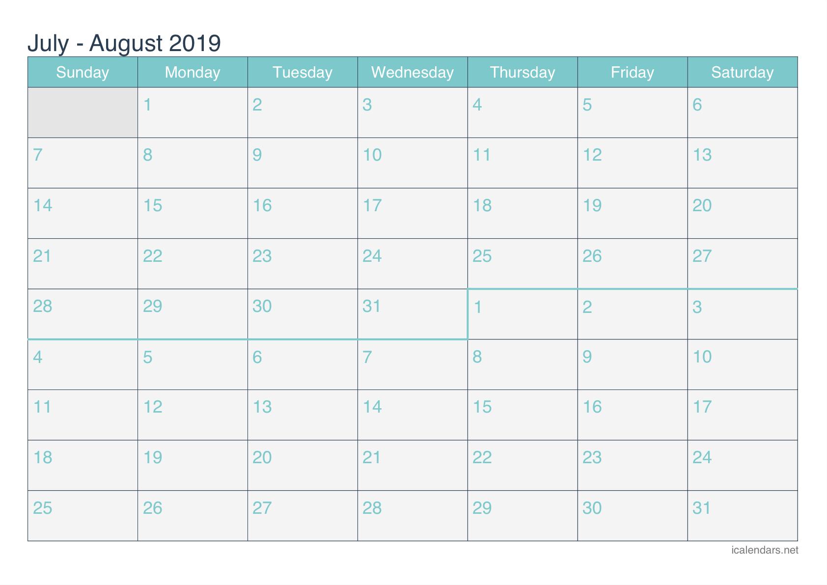 June July 2019 Calendar Template
