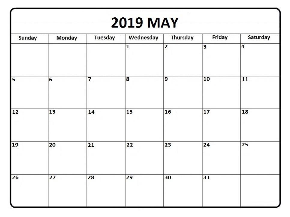 May 2019 Calendar PDF Printable Templates