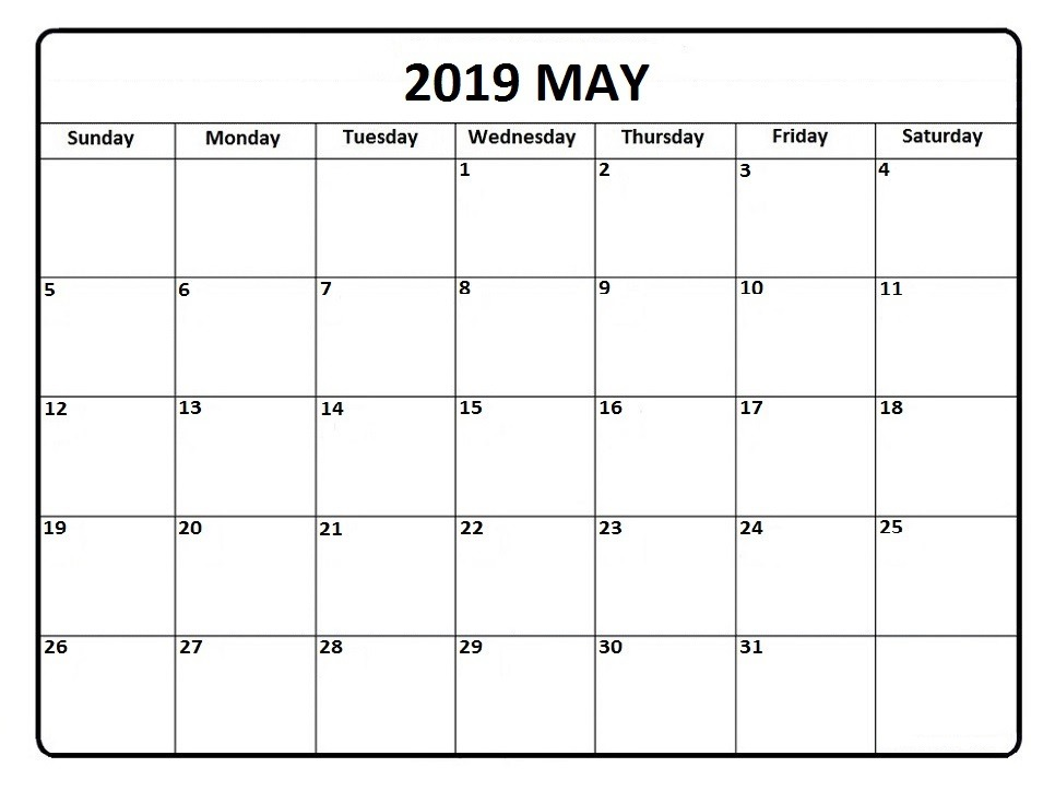 May 2019 Calendar PDF Printable Templates