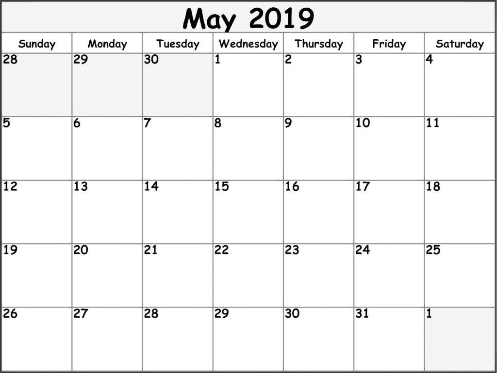 May 2019 Calendar PDF Template