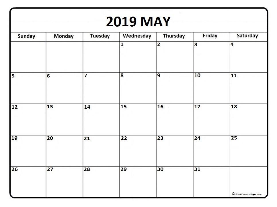 Blank Calendars 2019 Printable May