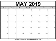 May 2019 Calendar Printable Holidays