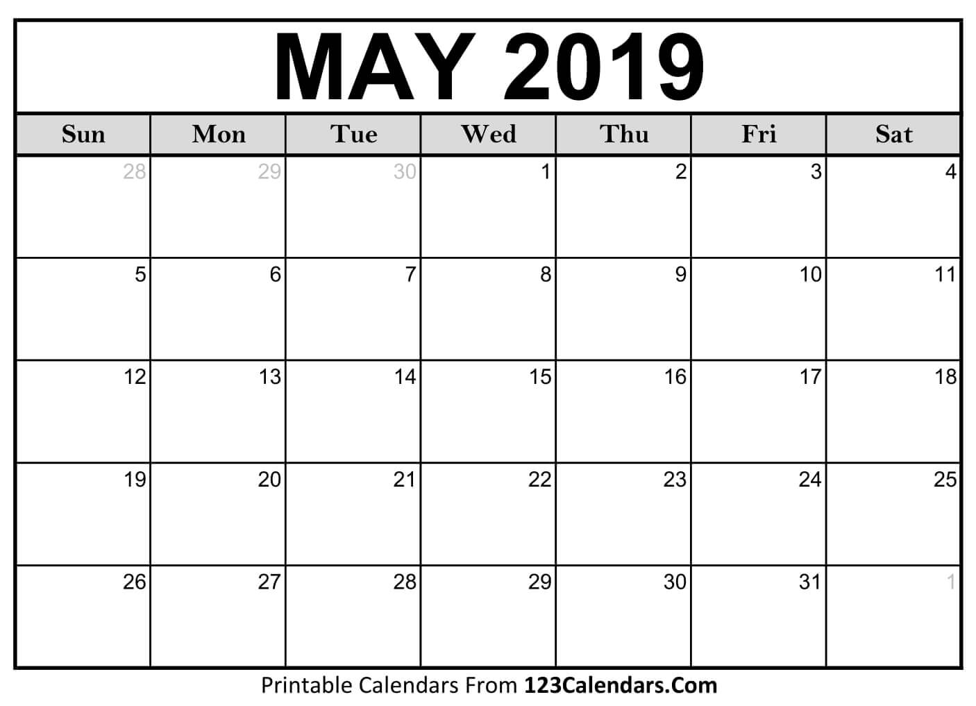 May 2019 Calendar Printable Holidays