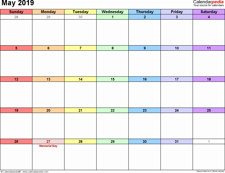 May 2019 Calendar PDF Printable