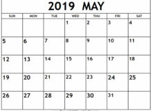 May 2019 Calendar Sheet and Pages