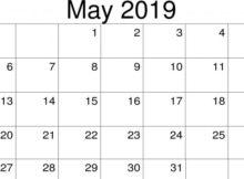 May 2019 Editable Calendar Printable