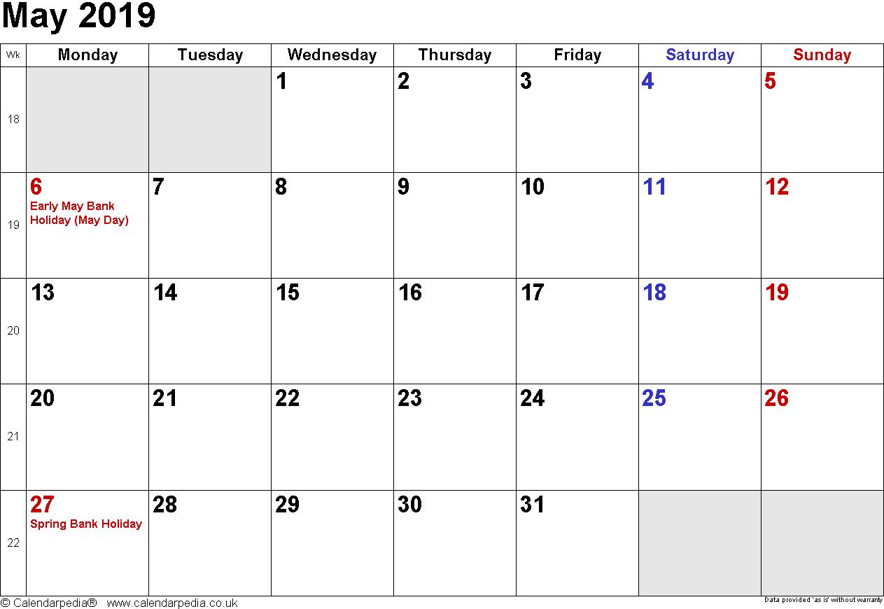 May 2019 Holidays UK