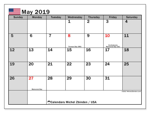 May 2019 Holidays US