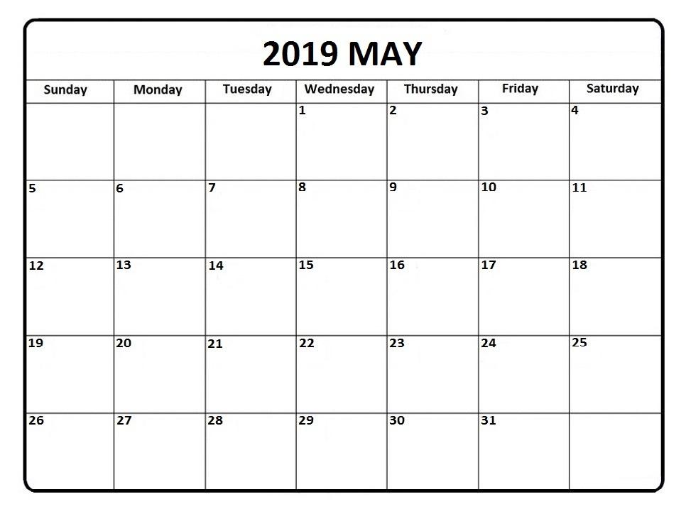 May 2019 Printable Calendar Editable