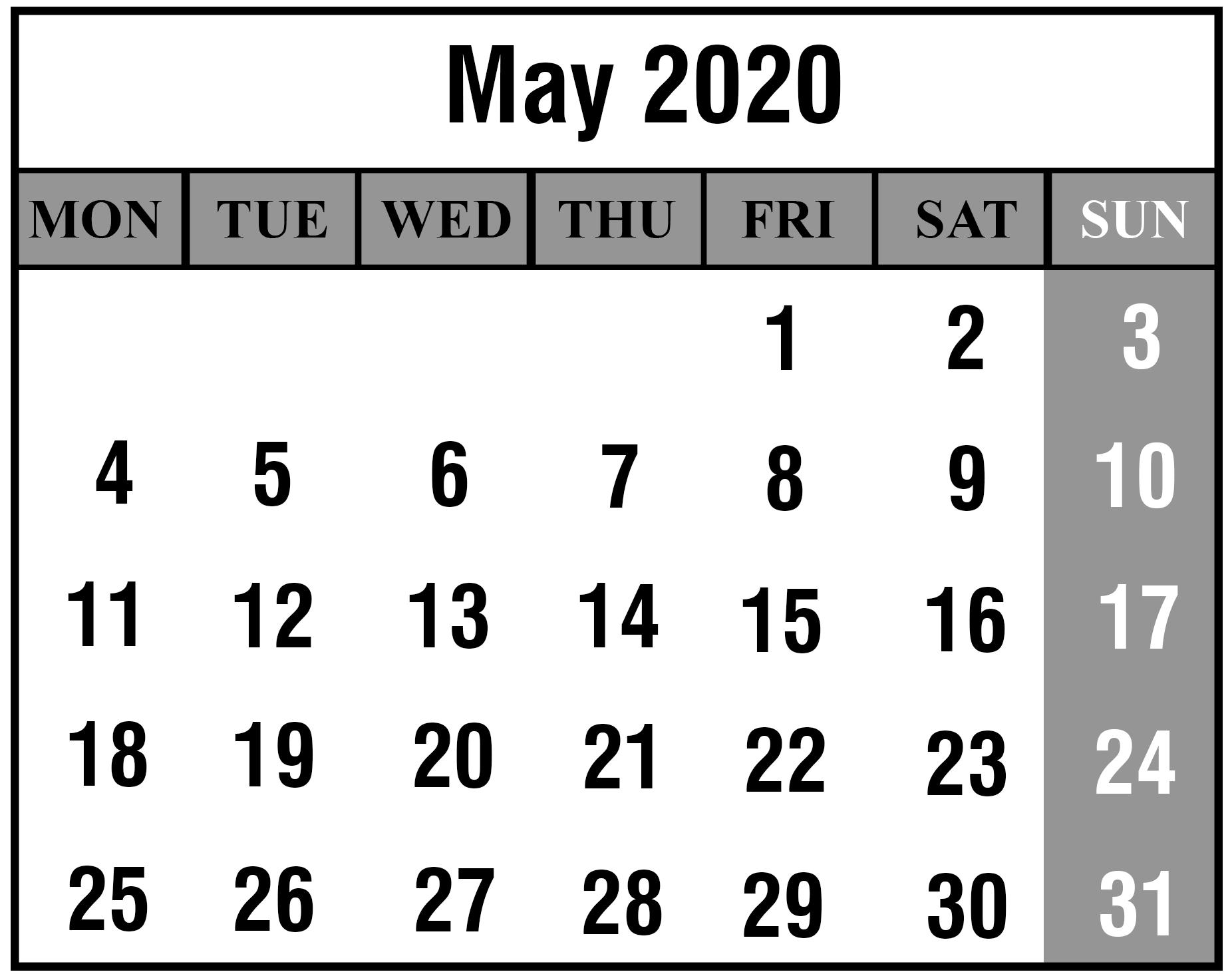May 2020 Calendar PDF Template