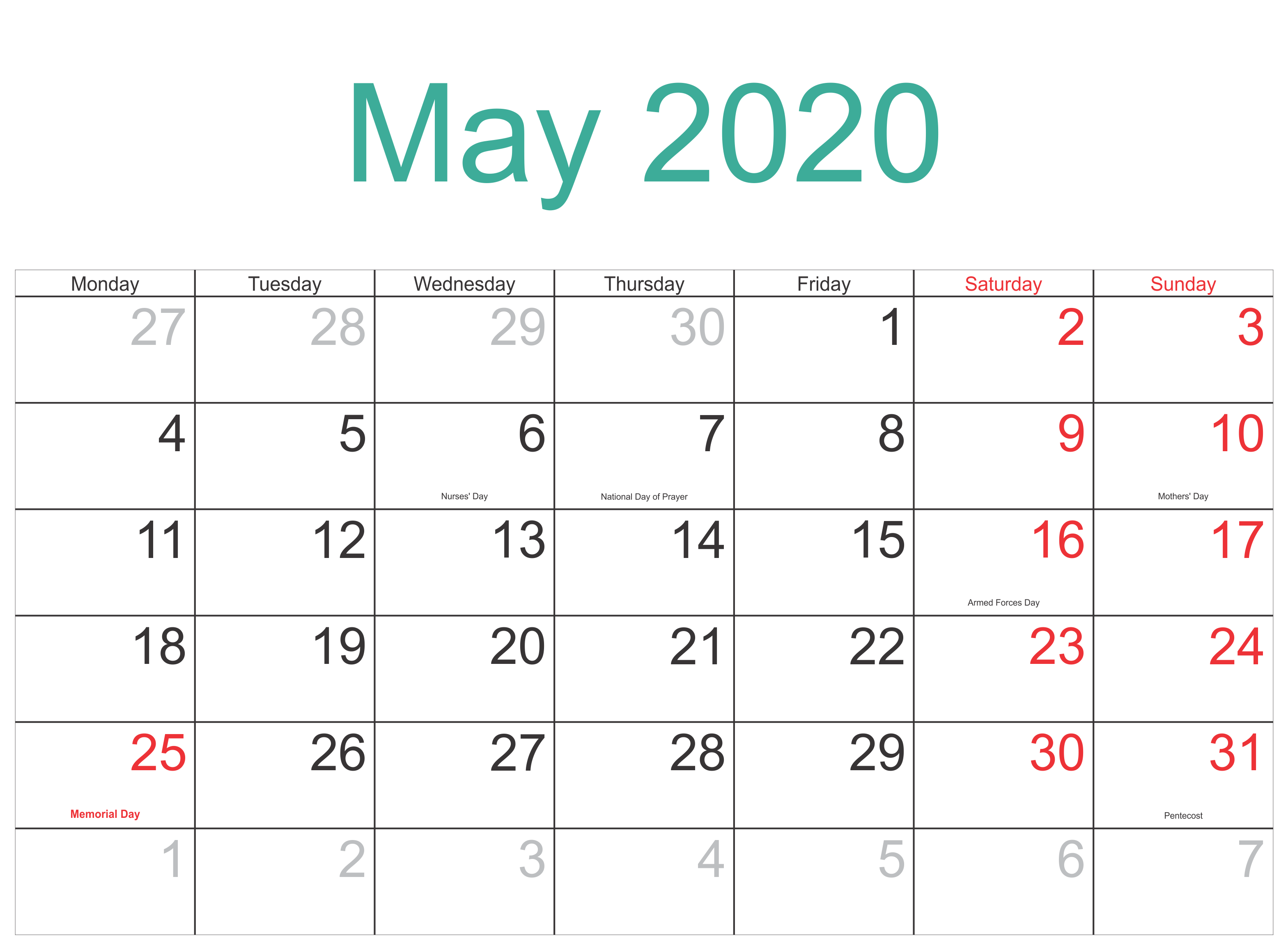 May 2020 Canada Holidays Calendar