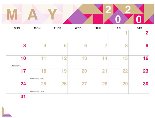 May 2020 Holidays Calendar Template