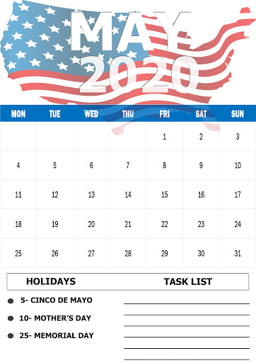 May 2020 Holidays Calendar