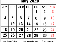 May 2020 Holidays Printable Calendar