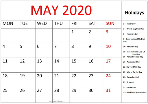 May 2020 National Holidays Calendar