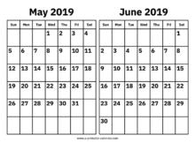 May June 2019 Calendar PDF
