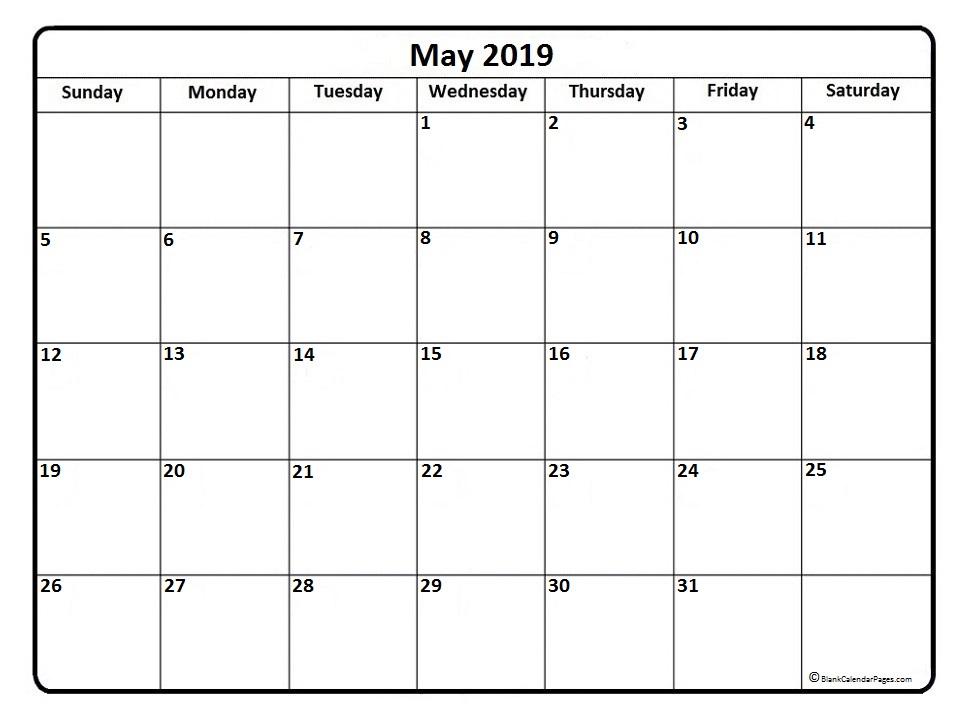 May Month Calendar 2019 PDF
