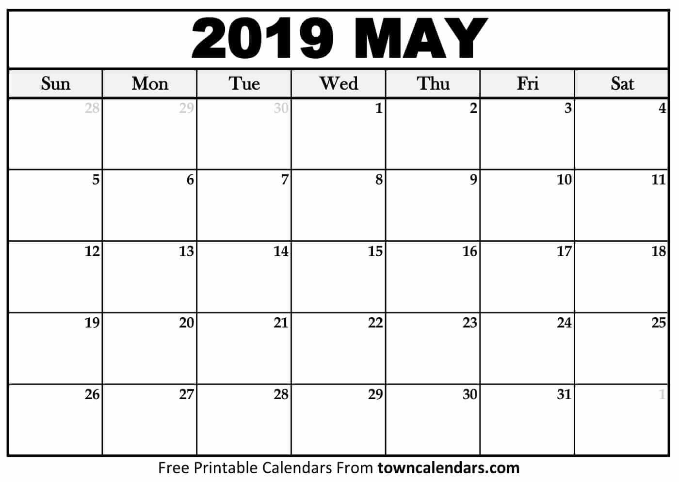 May Month Calendar 2019 Printable