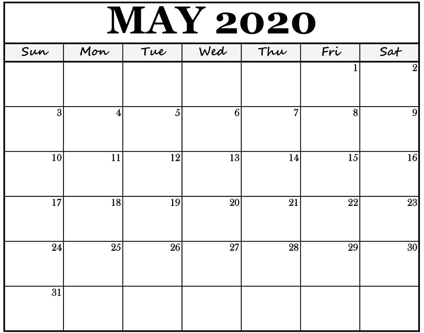 Monthly Blank Calendar Template May 2020