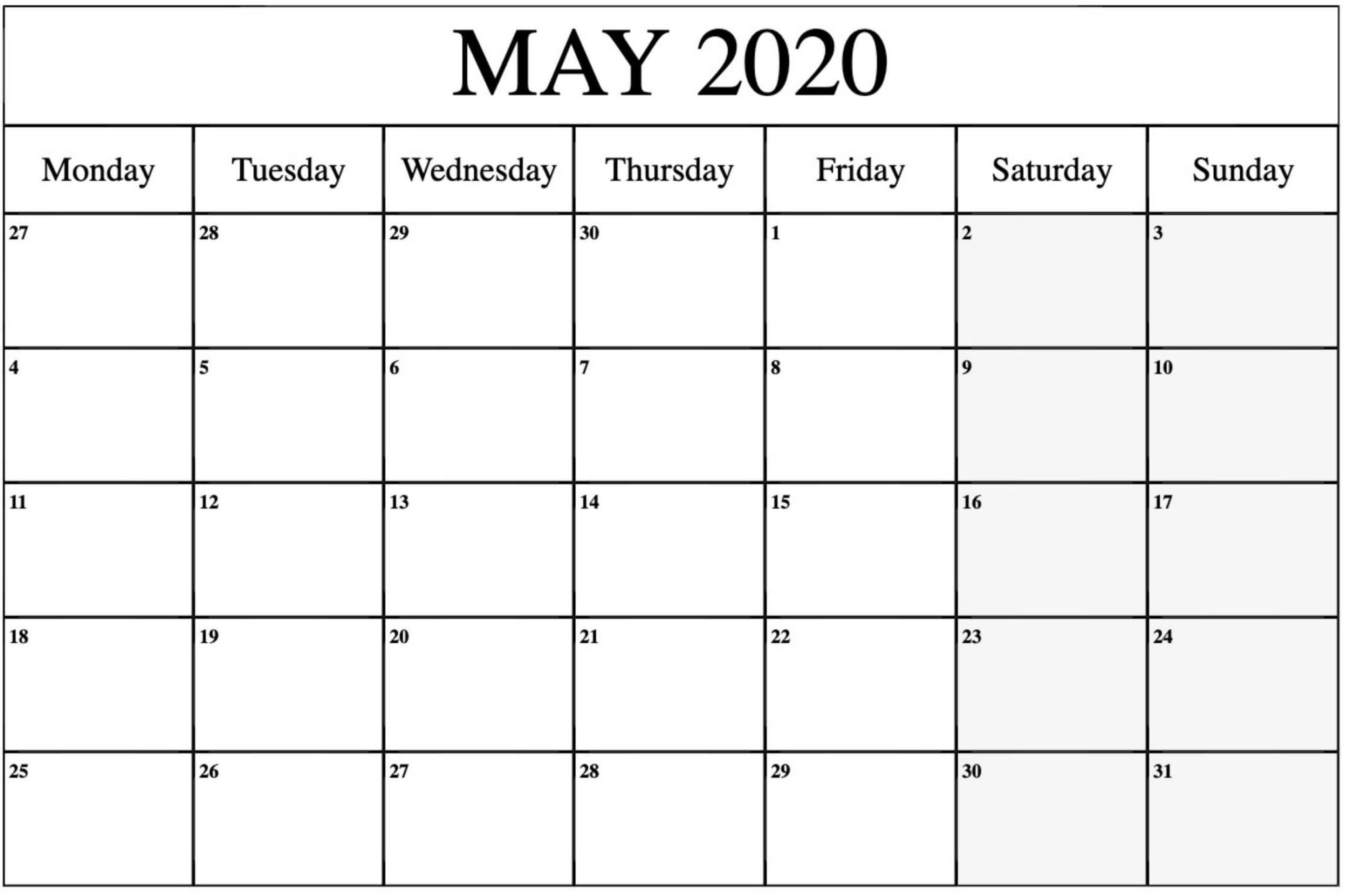 Monthly Calendar Template May 2020