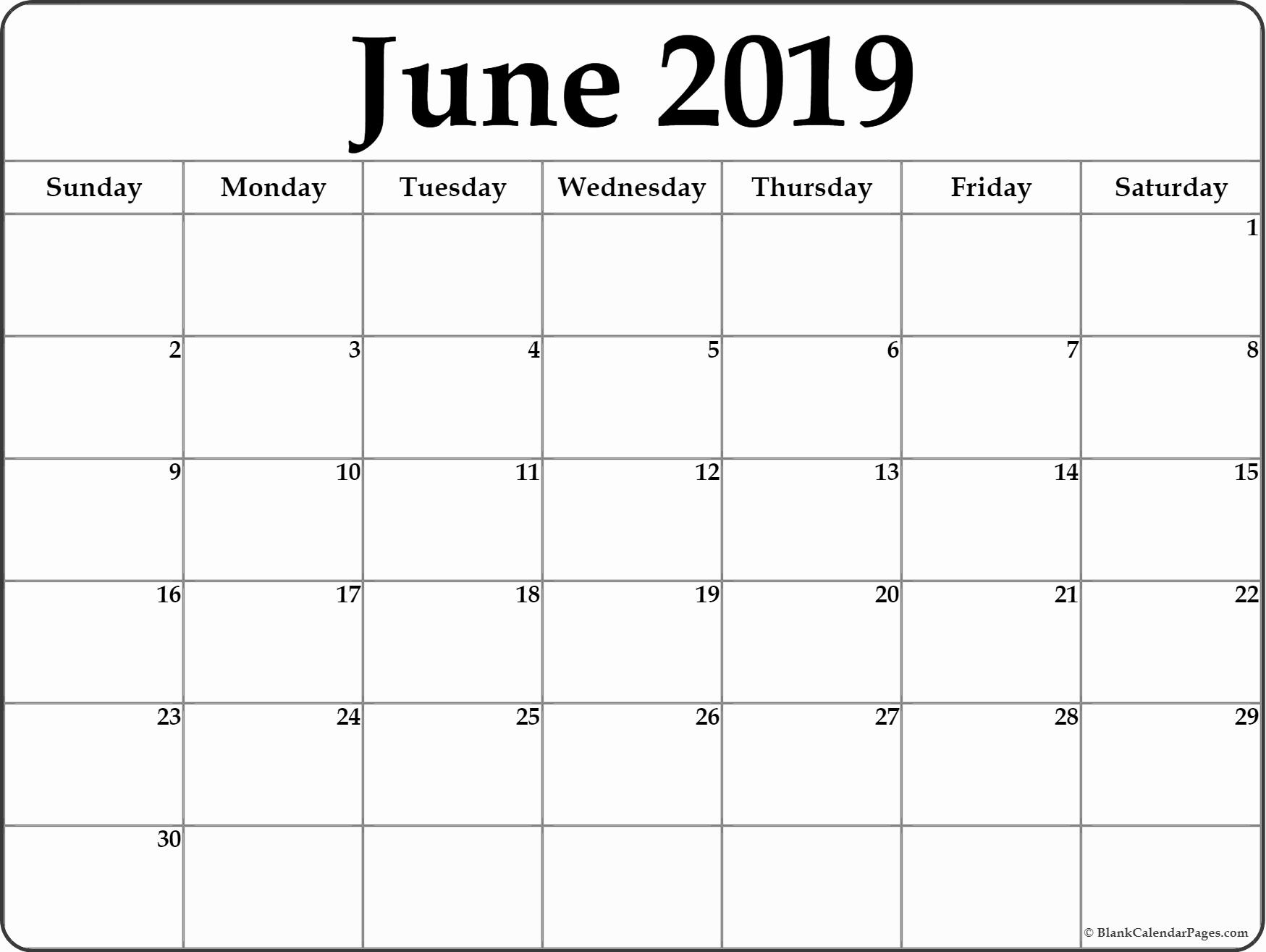 Monthly June 2019 Printable Calendar