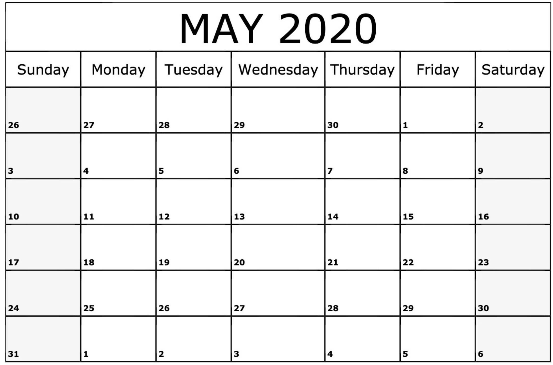 Print May 2020 Calendar in Excel