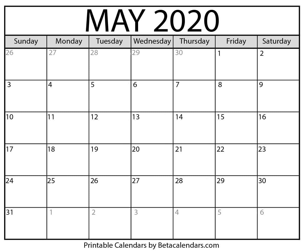 Printable Calendar May 2020 PDF Template